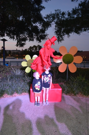 Kids with Mime in Downtown Disney