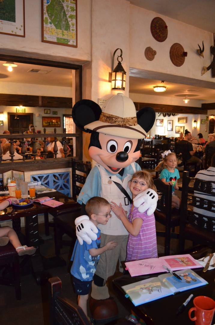 The kids meeting Safari Mickey