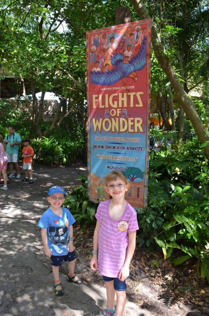 Kids waiting to see flights of Wonder Show