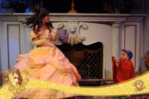 Aiden playing the Beast scaring Belle