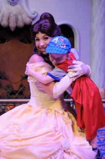 Aiden hugging Belle after the story