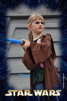 Abby training with her lightsaber