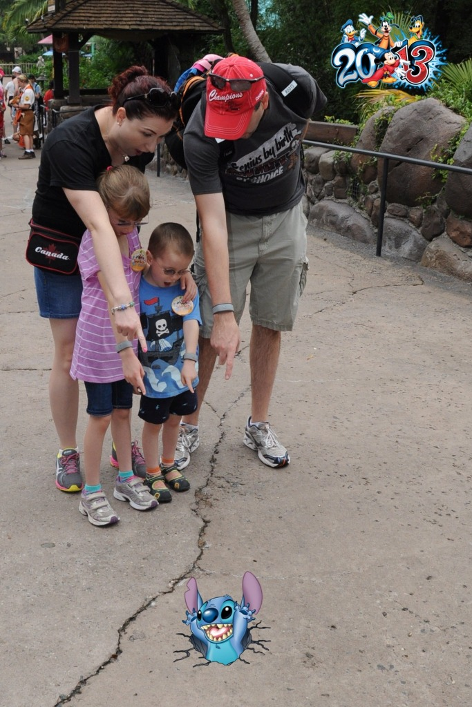 Stich coming through a crack in the ground at Animal Kingdom