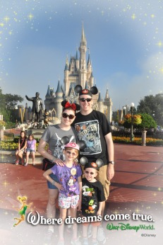 The family in front of Cinderella's Castle