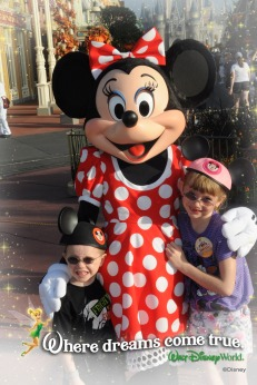 Abby and Aiden with Minnie Mouse