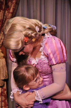 Abby hugging Rapunzel