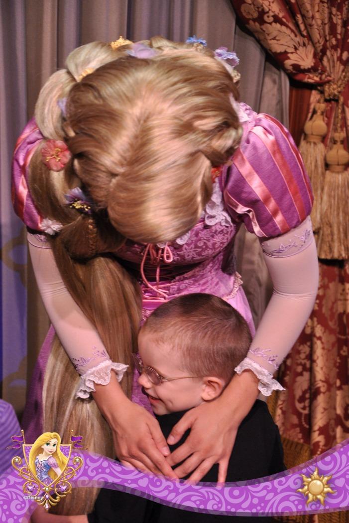 Aiden hugging Rapunzel