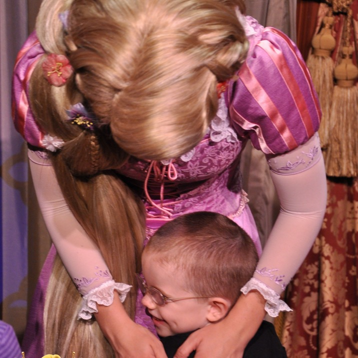 Aiden hugging Rapunzel