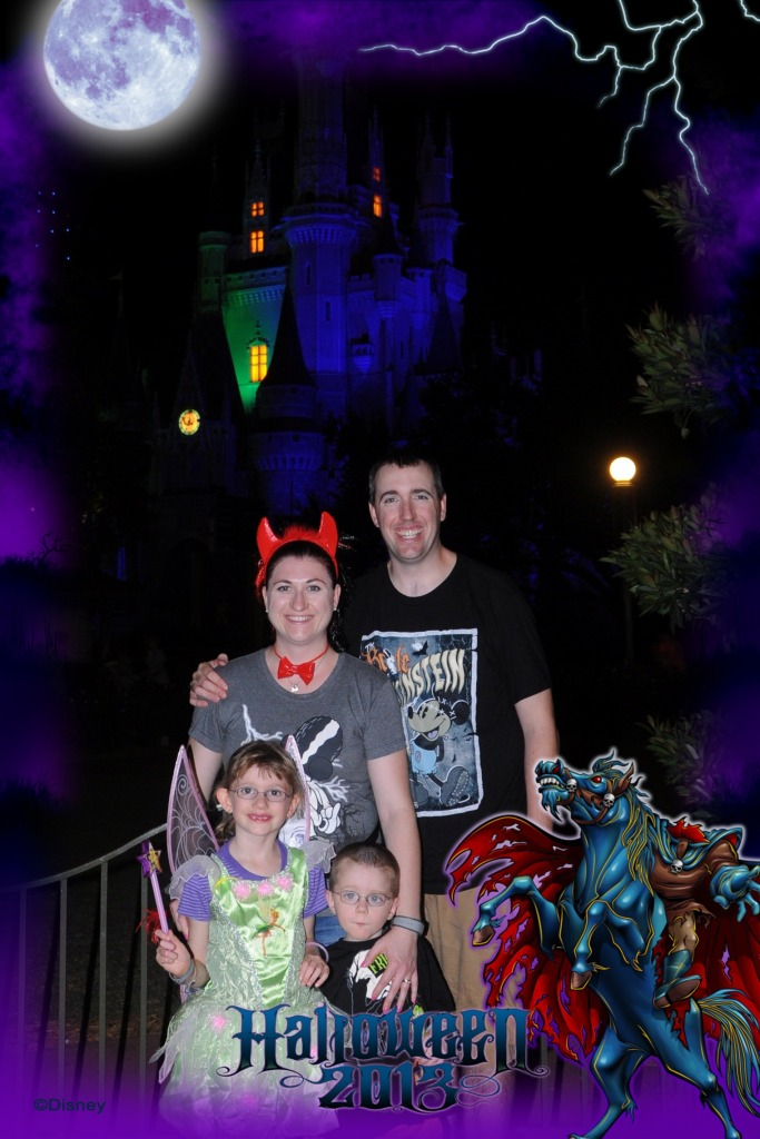 The kids and us at the end of Mickey's Not So Scary Halloween Party