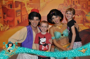 The kids meeting Aladdin and Jasmine
