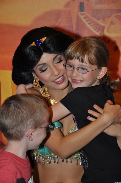 Abby hugging Princess Jasmine
