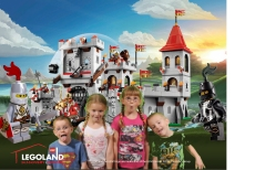 Aiden, Ava, Abby and William in front of Lego Castle