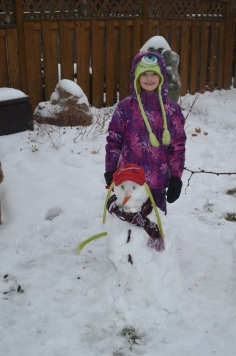 Abby with her Snowman