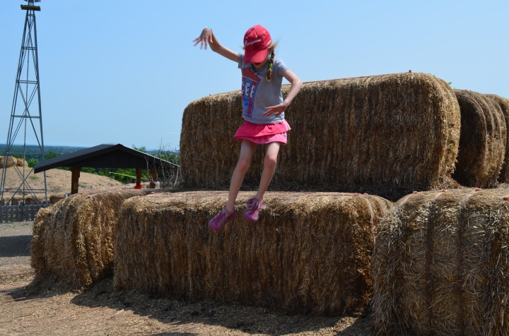 Abby jumping down from the Haystack.