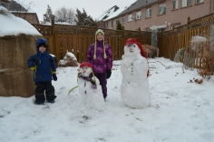 Aiden and Abby with their Snowmen