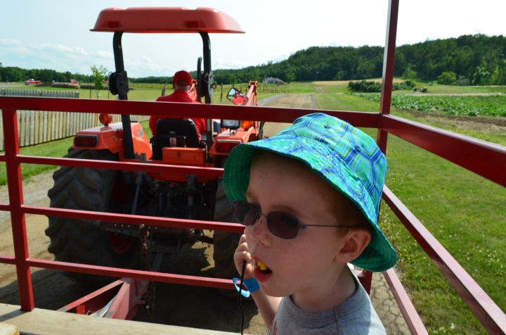 Aiden on the tractor ride