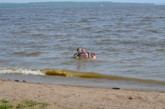 Abby and Aiden with Mom and Dad in Lake Temiskaming.