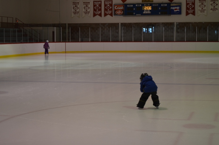 Abby and Aiden skating all by themselves at the Warsaw Arena