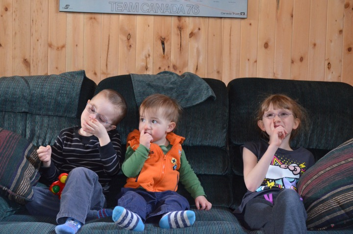Aiden, Macklan and Abby picking their noses.