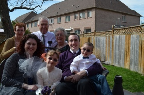 Abby and Aiden with Mom & Dad, Mama & Papa, and Grandma (Grandpa sick)