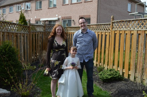 Abby with her Godparents, Aunt Julie and Uncle Rob