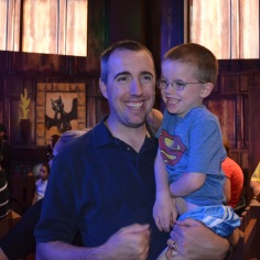 Peter with Aiden after finishing a ride