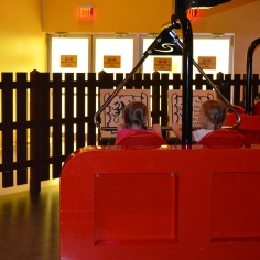 Abby and Ava on a ride at Legoland
