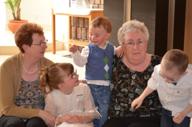 Grandma and Mama with Abby, Macklan, and Aiden