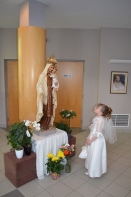 Abby in front of Virgin Mary