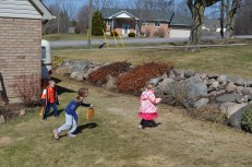 Abby, AIden and Carly on their Egg Hunt.