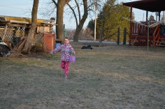 Abby running to get and Egg