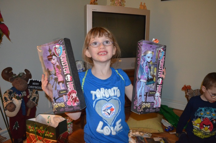 Abby with her Monster High Dolls