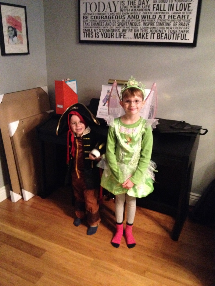 Aiden dressed as Pirate and Abby as Tinker Bell