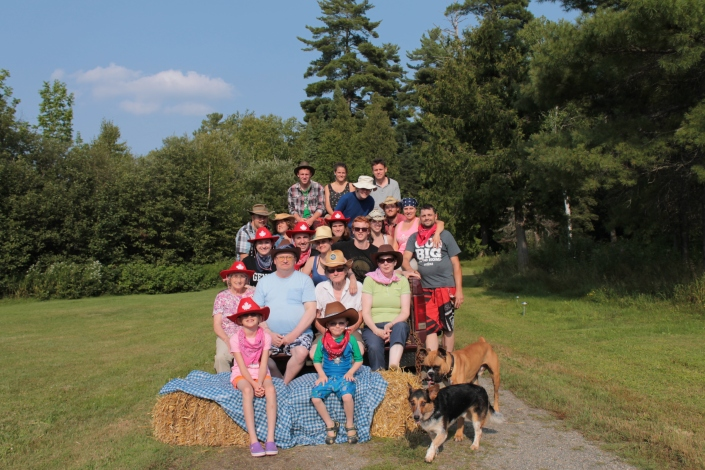 Family Picture Front L-R: Abby, Aiden, Chad and Milo. Second Row L-R: Joyce, Bruce, Al, Jackie Third Row L-R: Aaron, Melissa, Chantale, Peter, Shauna, Oren, Lucas, Stephanie L. Phillip, Kim and Luc. Back Row L-R: Jordan, Stephanie, Nicholas, Steven.