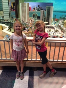 Ava and Abby in front of Mini City of Toronto.