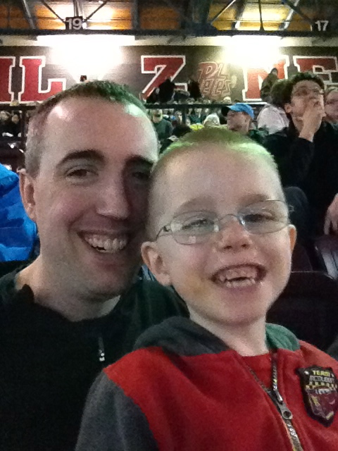 Peter and Aiden at the Petes Game