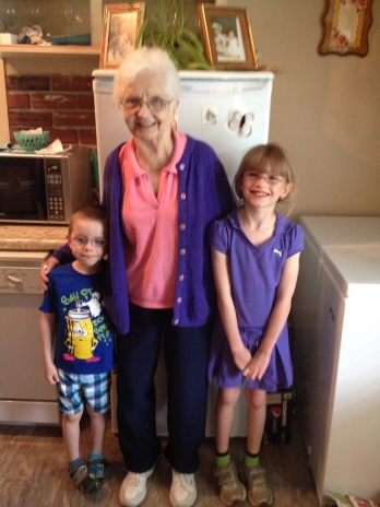 Abby and Aiden with their Great Aunt Jean