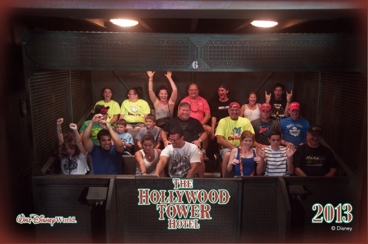Peter riding the Tower of Terror Ride (Toronto Maple Leafs Shirt on the far Right)