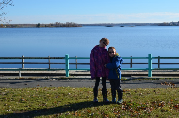 Abby and Aiden in front of Lake in Rouyn Noranda