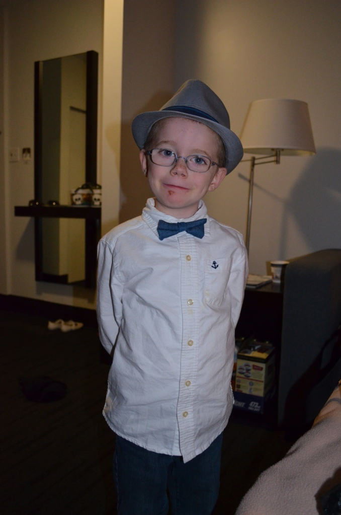 Aiden looking quite dapper before Uncle Gill's ceremony.