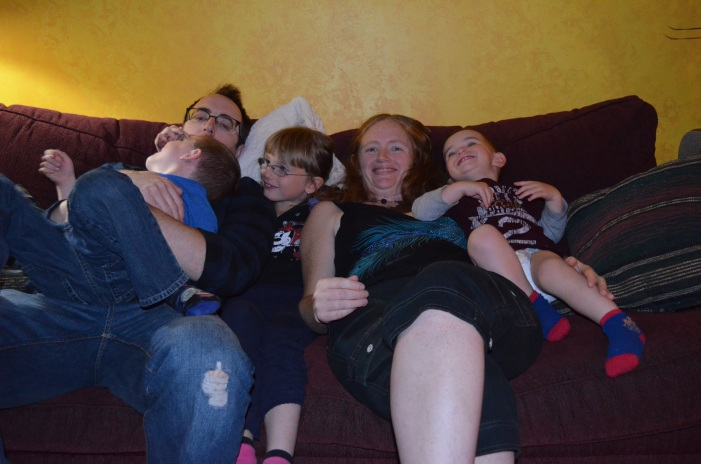Uncle Rob & Auntie Julie with Aiden, Abby, and Macklan.