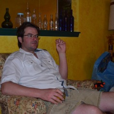 Uncle Peter relaxing after cooking Thanksgiving Dinner