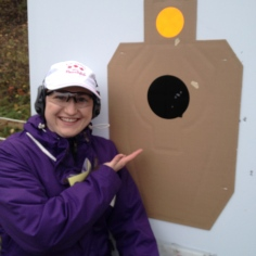 Melissa's target with the rifle