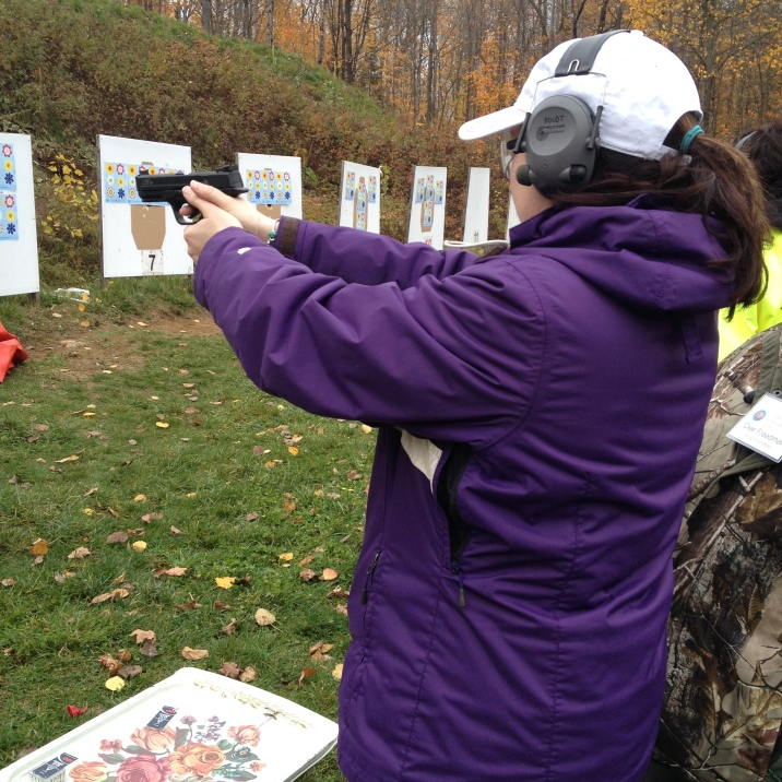 Melissa shooting handgun.