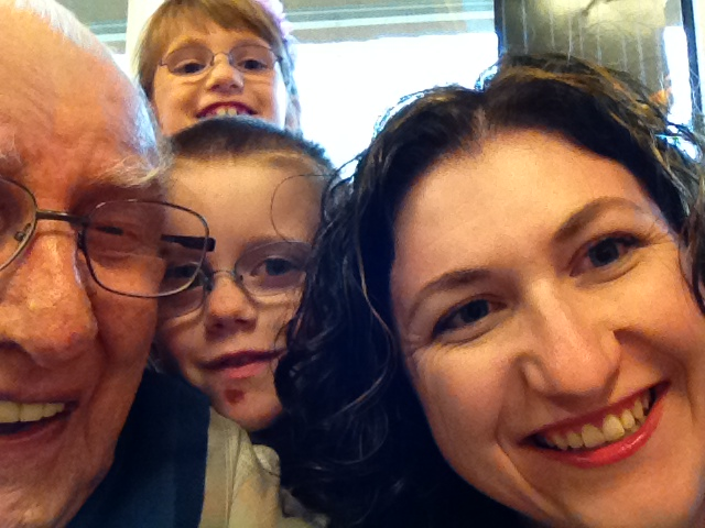 Uncle Gill taking a selfie with Aiden, Abby and Melissa