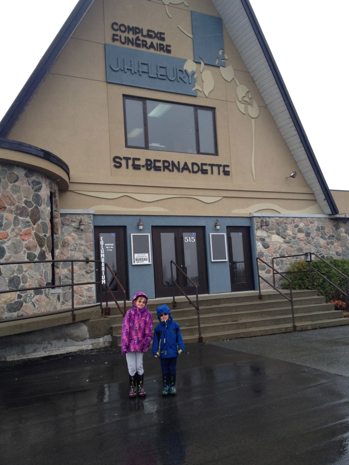 Abby and Aiden in front of church built by the Great-Grandfather