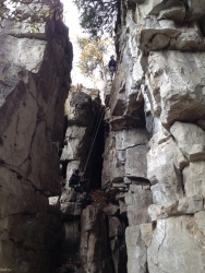 Some rock climbers trying their luck at the Trafalgar Lookout