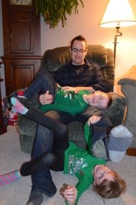 Christmas Evening 2014 wrestling with Uncle Rob