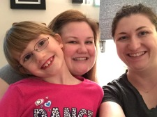 Abby with Mommy and Auntie and Megan