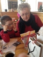 Aiden and Mama ordering birthday breakfast